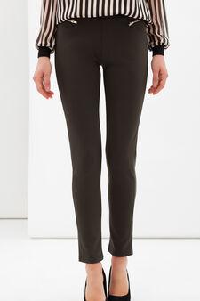 Stretch leggings with zip, Dark Green, hi-res