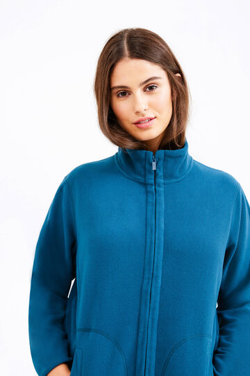 Curvy fleece gym hoodie, Petrol Blue, hi-res