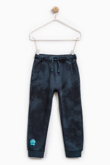 Pantaloni tuta puro cotone stampati, Blu avio, hi-res