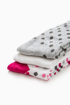 Three-pair pack long patterned socks, White/Grey, hi-res