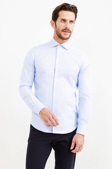 Slim-fit casual shirt with cut-away collar, Light Blue, hi-res