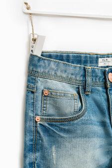 Jeans effetto used con scoloriture, Blu chiaro, hi-res