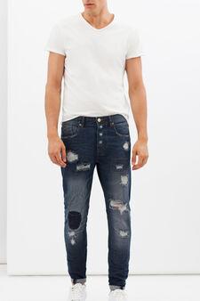 Jeans slim fit con strappi, Lavaggio scuro, hi-res