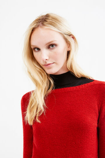 Mohair blend stretch pullover, Red, hi-res