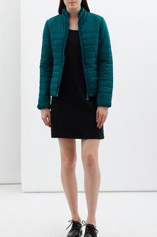 Shaped puffa jacket, Green, hi-res
