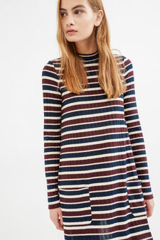Stretch striped ribbed dress, White/Red, hi-res