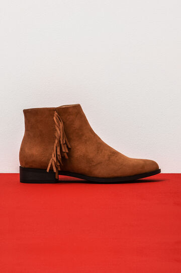 Suede ankle boots with fringe, Brown, hi-res