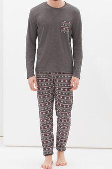 Printed pyjamas in 100% cotton, Grey Marl, hi-res