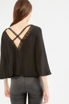 Openwork blouse with three-quarter sleeves, Black, hi-res