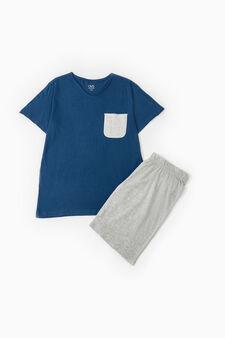 Cotton pyjamas with top and Bermuda shorts, Deep Blue, hi-res