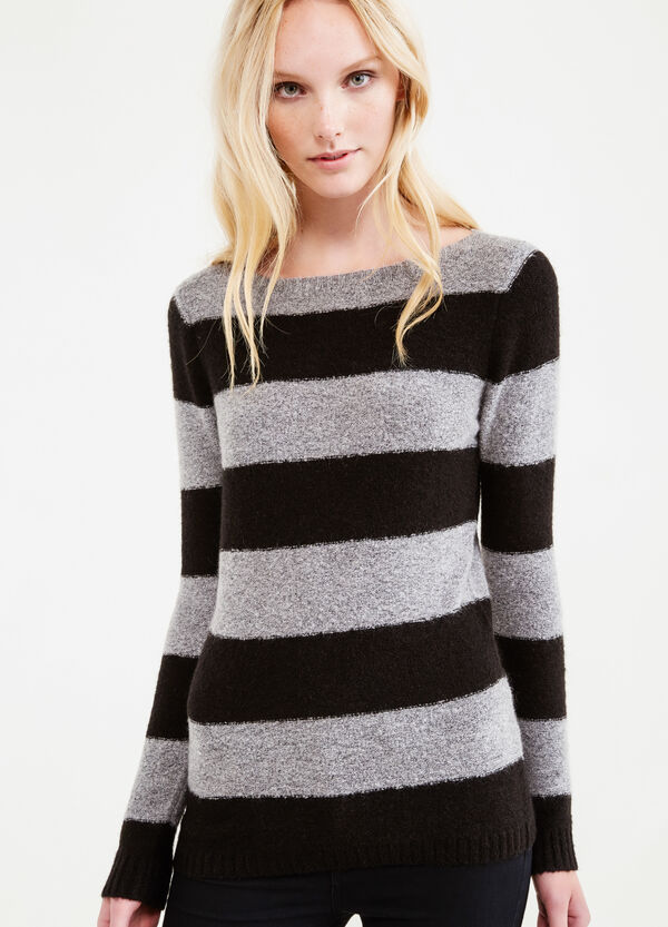 Pullover in stretch mohair blend with striped pattern | OVS