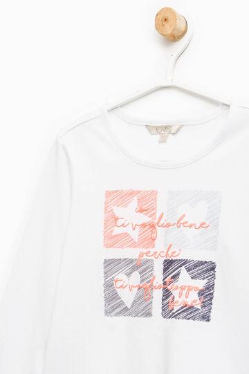 T-shirt tinta unita con stampa, Bianco panna, hi-res