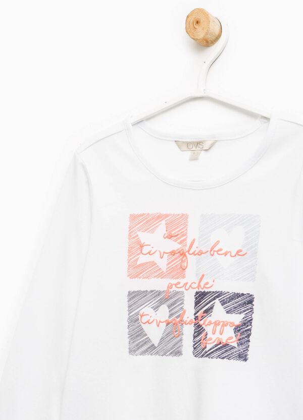 Camiseta en color liso con estampado | OVS