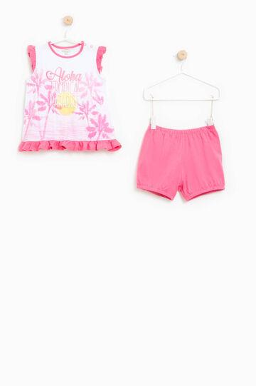 Pijama de camiseta y shorts 100% Biocotton, Blanco/Fucsia, hi-res