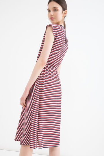 Stretch dress with striped print, Cream White, hi-res