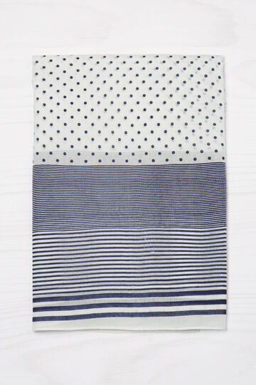 Striped and polka dot scarf in 100% cotton, White/Blue, hi-res