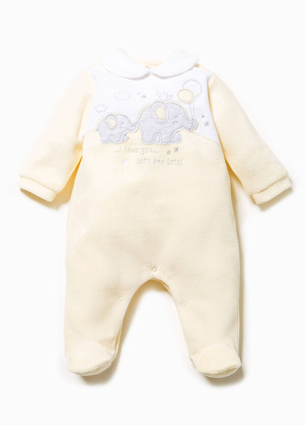 Onesie in cotton velour with patches | OVS