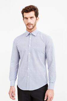 Striped slim-fit formal shirt, White/Blue, hi-res
