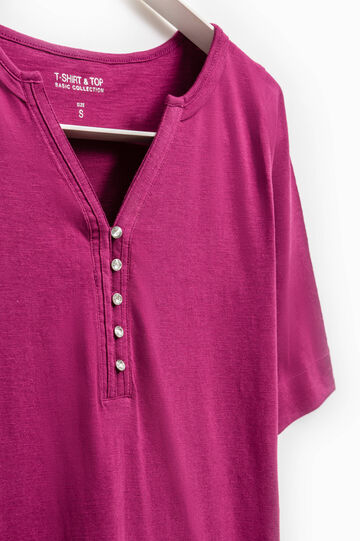 Smart Basic  T-shirt with beaded buttons, Fuchsia, hi-res