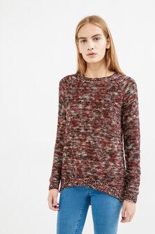 Pullover misto cotone tricot fantasia, Viola melanzana, hi-res