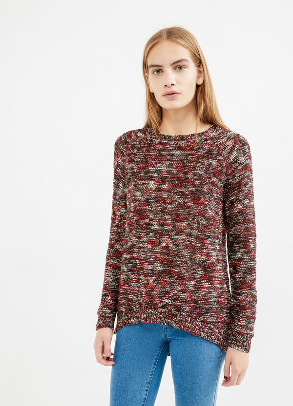 Cotton blend knitted pullover with pattern | OVS