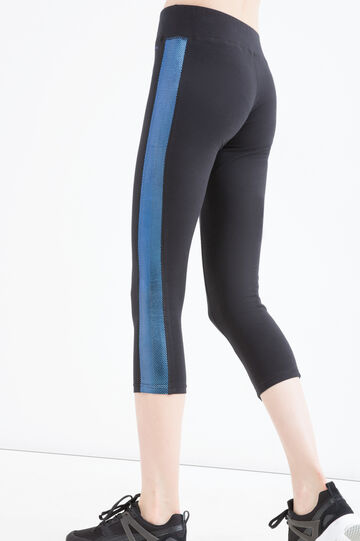 Stretch cotton gym leggings, Black, hi-res
