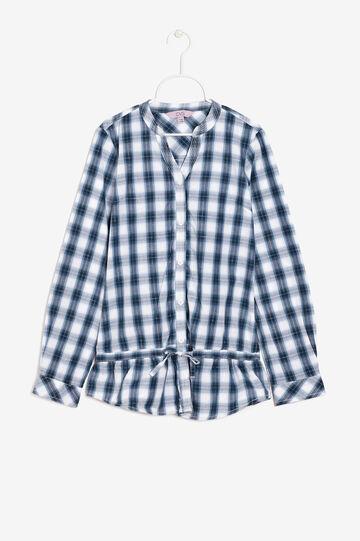 Camicia quadri con balza , Bianco/Blu, hi-res