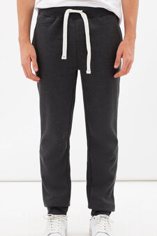 Cotton blend joggers with drawstring, Smoke Grey, hi-res