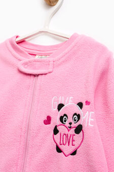 Sleep suit with panda embroidery, Pink, hi-res