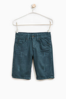 Creased-effect cotton Bermudas, Dark Blue, hi-res
