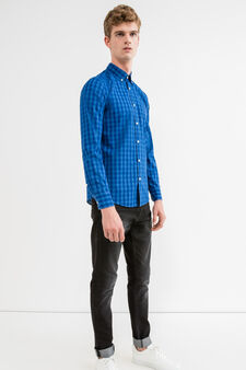 Check casual shirt in 100% cotton, Blue, hi-res