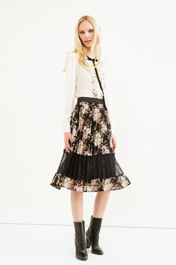Pleated floral longuette skirt, Black, hi-res