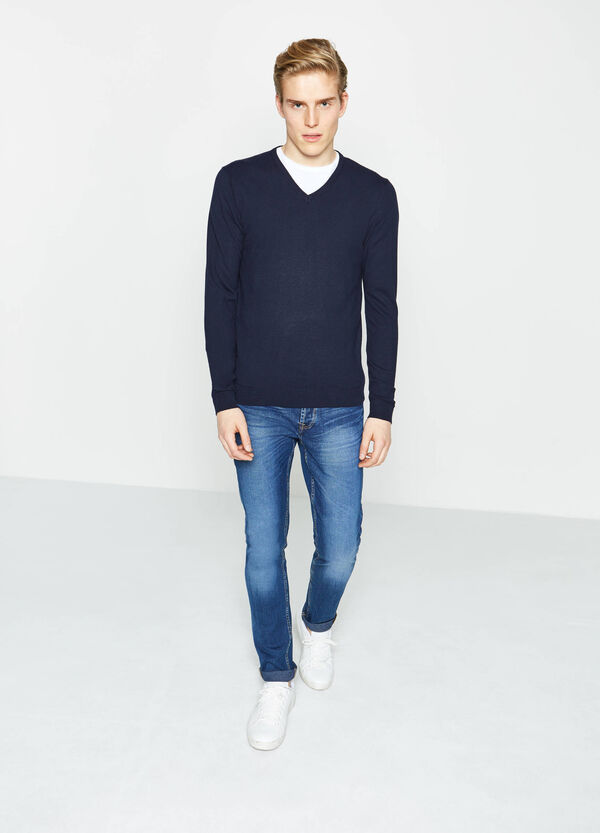 Cotton blend V-neck pullover | OVS