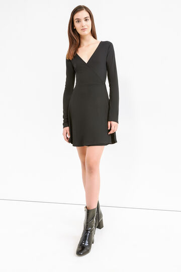 Ribbed V-neck dress, Black, hi-res
