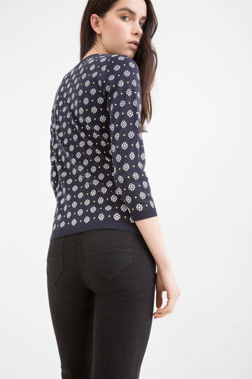 Printed cardigan in 100% cotton, Navy Blue, hi-res