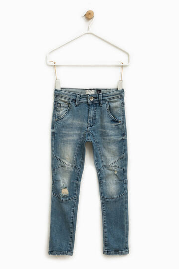 Worn-effect slim-fit stretch jeans, Blue, hi-res