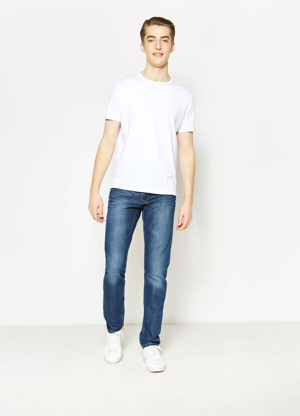 Straight-fit worn-effect jeans with whiskering | OVS