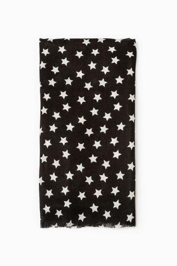 Star print scarf, Black, hi-res