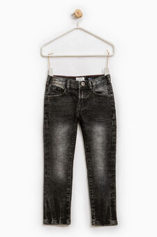 Used-effect slim-fit stretch jeans, Grey, hi-res