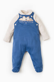 Onesie with round collar and feet, Blue/Brown, hi-res