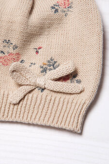 Floral-pattern beanie cap, Beige, hi-res