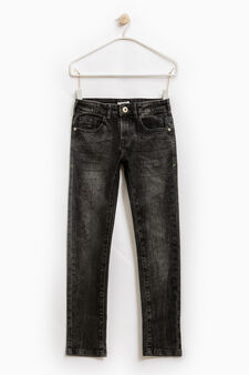 Worn-effect straight-fit stretch jeans, Black, hi-res