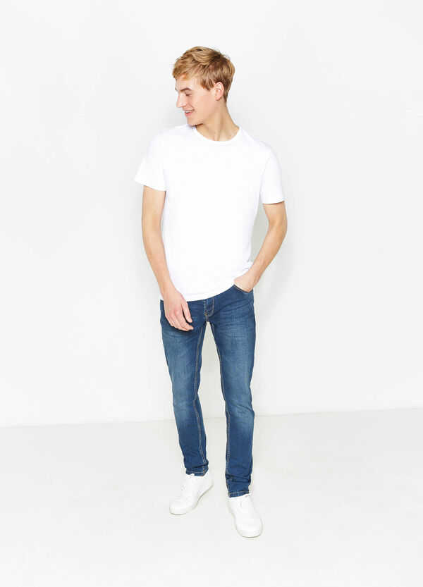 Skinny-fit stretch jeans with whiskering | OVS