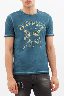 Printed T-shirt with contrasting stitching., Ocean Blue, hi-res