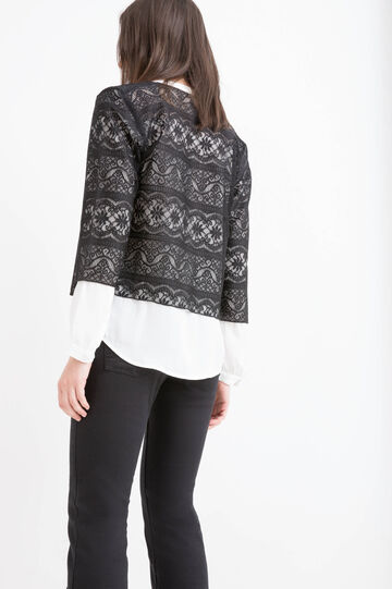 Solid colour openwork bolero, Black, hi-res