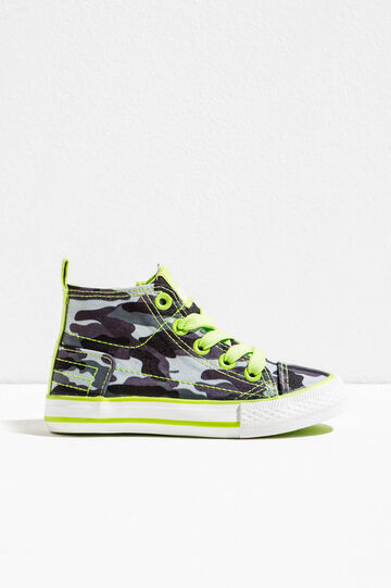 Camouflage print high-top sneakers, Grey, hi-res