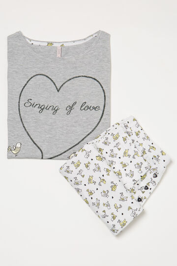 Printed cotton pyjamas, Grey Marl, hi-res
