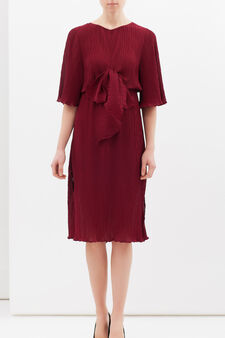 Longuette dress with bow, Claret Red, hi-res