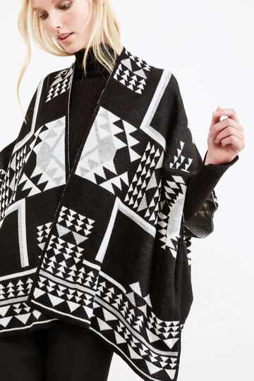 Ethnic pattern knit cloak, Black, hi-res