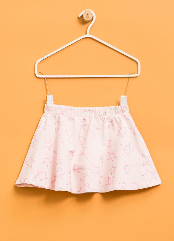 Stretch cotton skirt with star pattern | OVS